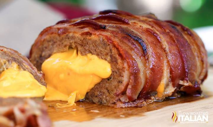 Cheese Filled Meatloaf wrapped in Bacon | Baconcoma.com